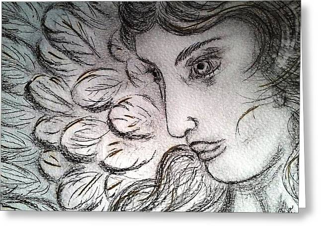 Archangel Drawings Greeting Cards - Gabriel Greeting Card by Raisa O