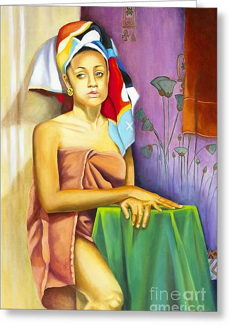 Shower Head Greeting Cards - Gaby Greeting Card by Marlene Book