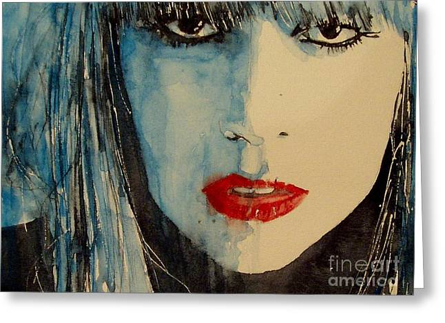 Musicians Paintings Greeting Cards - Gaga Greeting Card by Paul Lovering