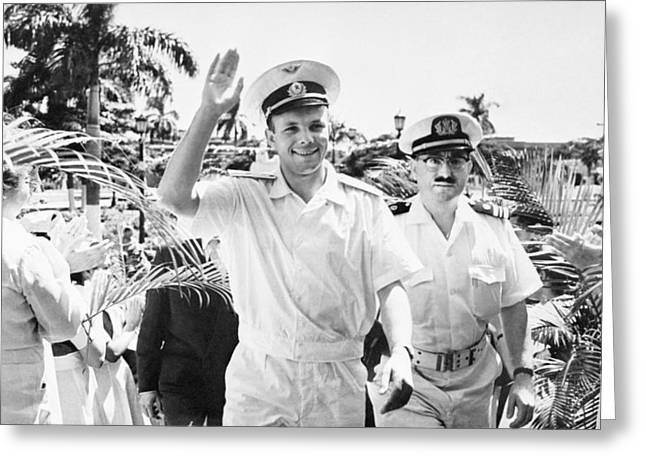 Space Race Greeting Cards - Gagarin in Cuba Greeting Card by Science Photo Library