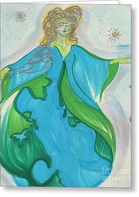 Gaia Drawings Greeting Cards - Gaia Gaea by jrr Greeting Card by First Star Art