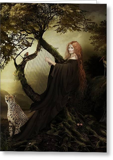 Gaia Mixed Media Greeting Cards - Gaia Greek Goddess Greeting Card by Shanina Conway