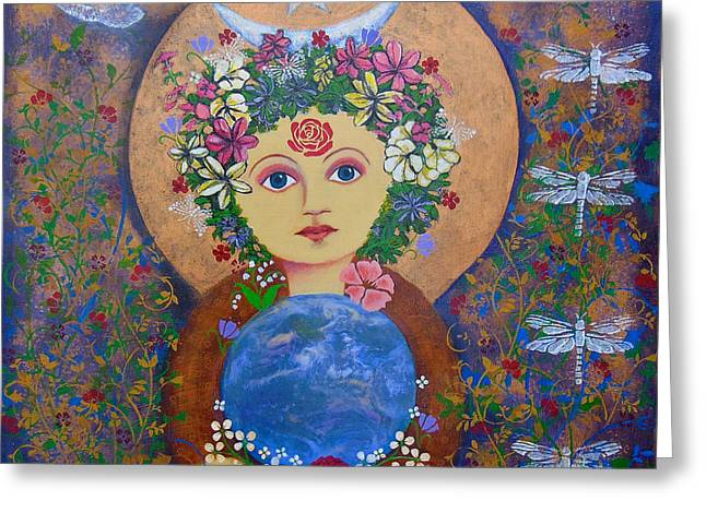 Gaia Mixed Media Greeting Cards - Gaia Mother Earth Greeting Card by Sylvia Vaughan