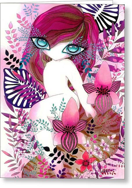 Gaia Mixed Media Greeting Cards - Gaia Greeting Card by Rita Cavanna