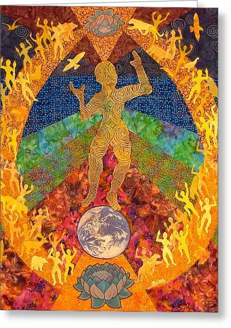 Gaia Mixed Media Greeting Cards - Gaias Dance Greeting Card by Liz Copeland
