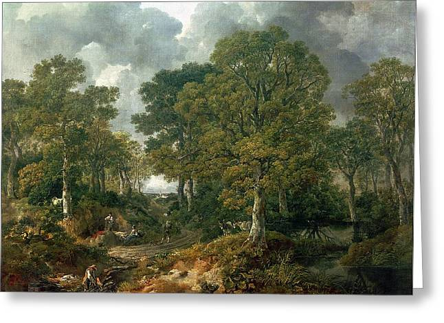 Gathering Photographs Greeting Cards - Gainsboroughs Forest Cornard Wood, C.1748 Oil On Canvas Greeting Card by Thomas Gainsborough