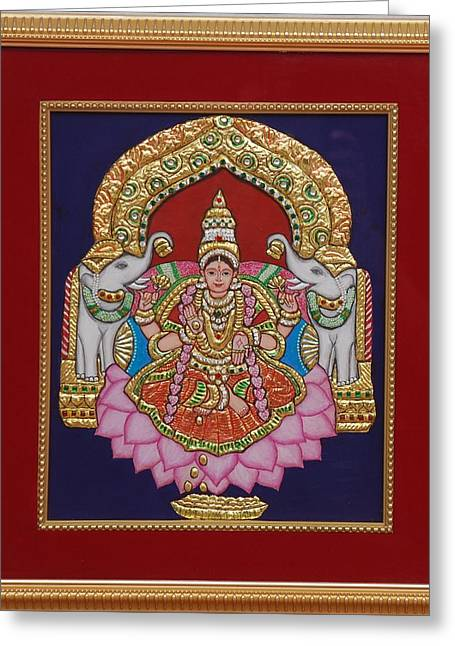 Tanjore Greeting Cards - Gaja Lakshmi in Tanjore art Greeting Card by Vimala Jajoo