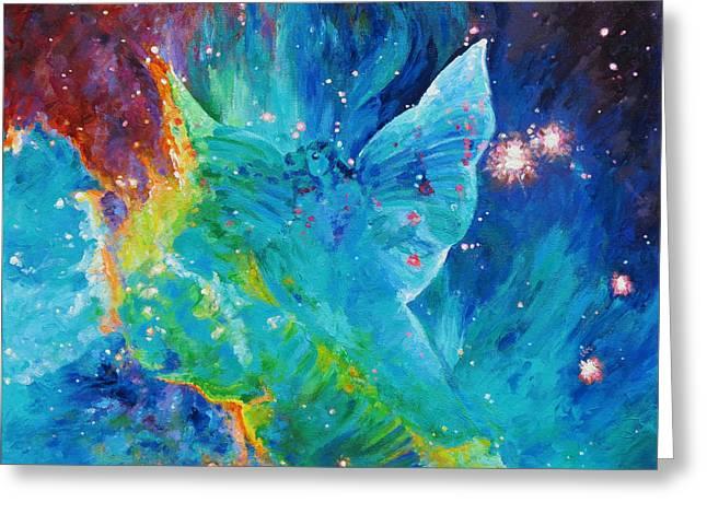 Galactic Angel Greeting Card by Julie Turner