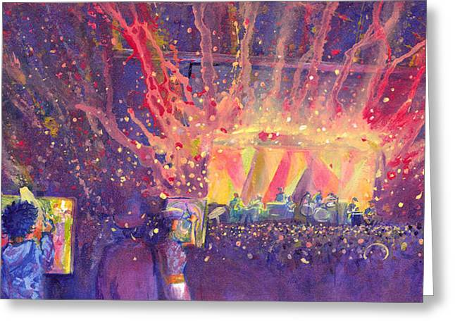 Galactic Paintings Greeting Cards - Galactic at ARISE Music Festival Greeting Card by David Sockrider