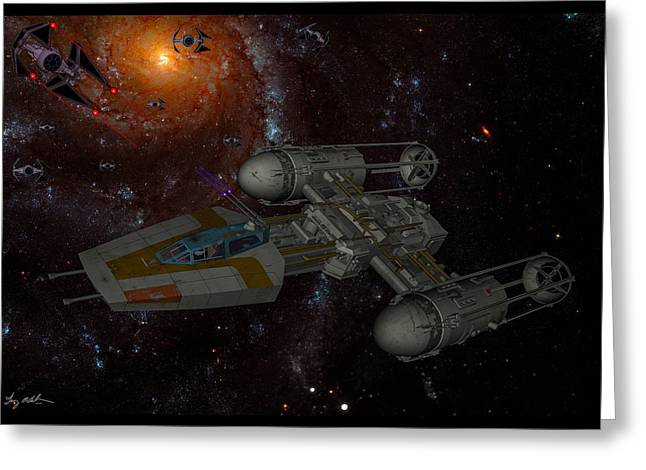 Y Wing Greeting Cards - Galactic Battle Greeting Card by Tommy Anderson