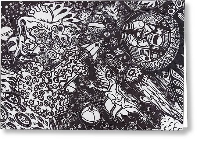 Outerspace Drawings Greeting Cards - Galactic Conflict Greeting Card by Patrick Wright