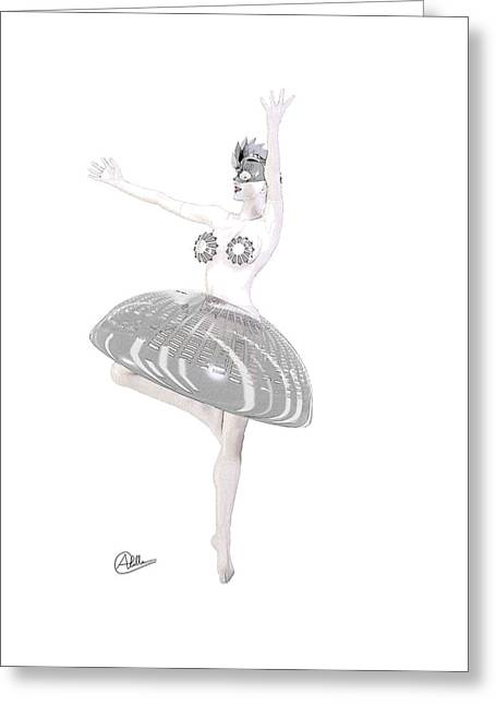 Dancer Drawings Greeting Cards - Cyber Dancer Greeting Card by Joaquin Abella