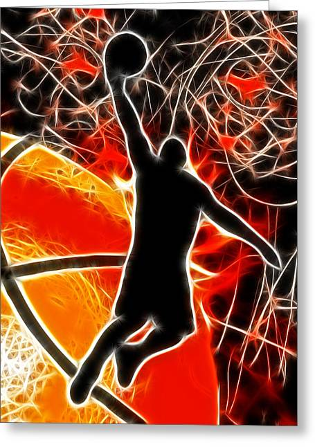 Basketball Abstract Greeting Cards - Galactic Dunk Greeting Card by David G Paul