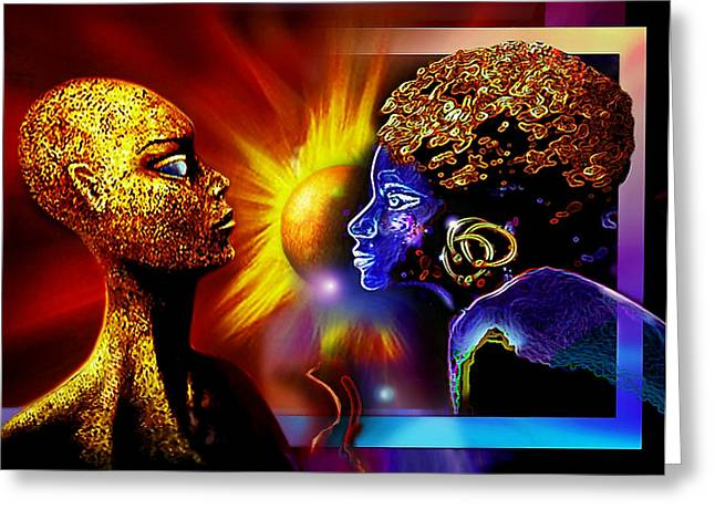 Galactic  Sisters Greeting Card by Hartmut Jager