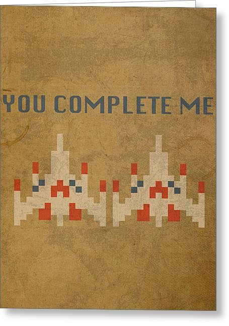 Vintage Video Game Greeting Cards - Galaga Vintage Video Game Art You Complete Me Greeting Card by Design Turnpike