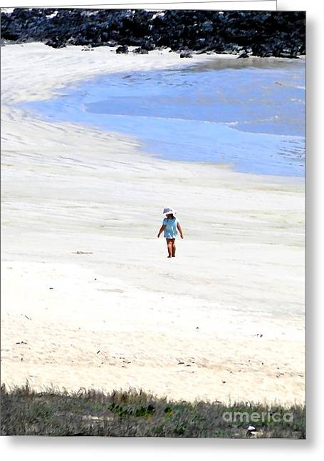 Innocence Child Greeting Cards - Galapagos Beachcomber Oil Painting Greeting Card by Al Bourassa