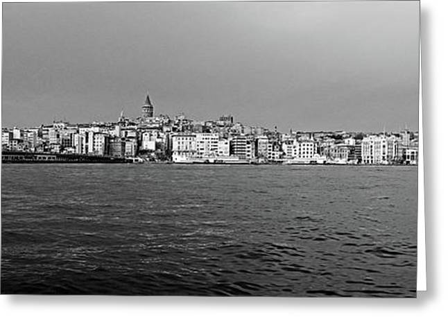 Galata Bridge And Buildings On Golden Greeting Card by Panoramic Images