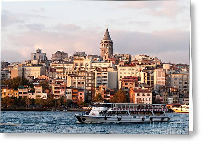 Galata Skyline 03 Greeting Card by Rick Piper Photography
