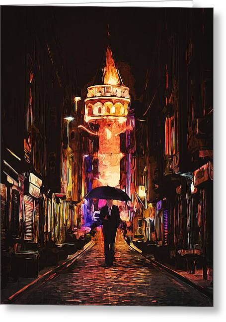 Night Cafe Digital Art Greeting Cards - Galata Greeting Card by Taylan Soyturk
