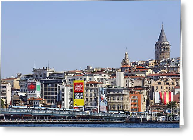 Galata Greeting Cards - Galata Tower and City Skyline Istanbul Greeting Card by Robert Preston