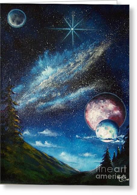 Astros Paintings Greeting Cards - Galatic Horizon Greeting Card by Murphy Elliott
