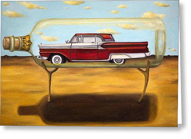 Magritte Greeting Cards - Galaxie In A Bottle Greeting Card by Leah Saulnier The Painting Maniac