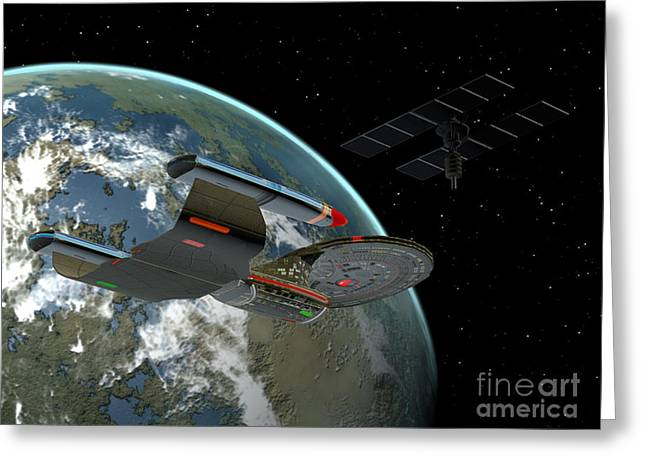 Jet Star Digital Art Greeting Cards - Galaxy Class Star Cruiser Greeting Card by Corey Ford