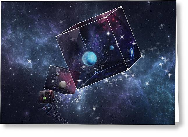Galaxy Cube Greeting Card by Astrid Rieger