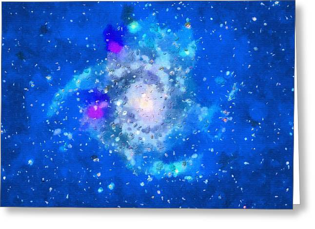 Outer Space Paintings Greeting Cards - Galaxy in blue Greeting Card by Magomed Magomedagaev