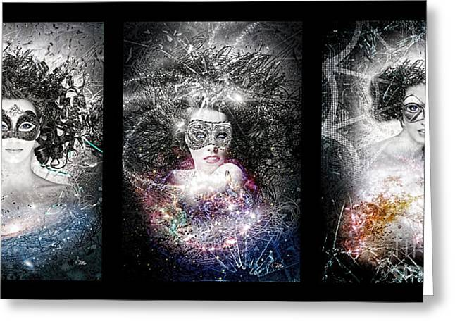 Antennae Galaxies Greeting Cards - Galaxy Triptic Greeting Card by Mo T