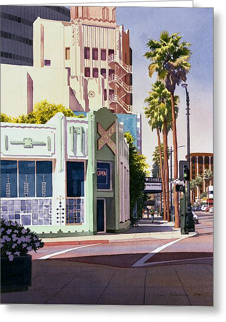Gale Cafe On Wilshire Blvd Los Angeles Greeting Card by Mary Helmreich