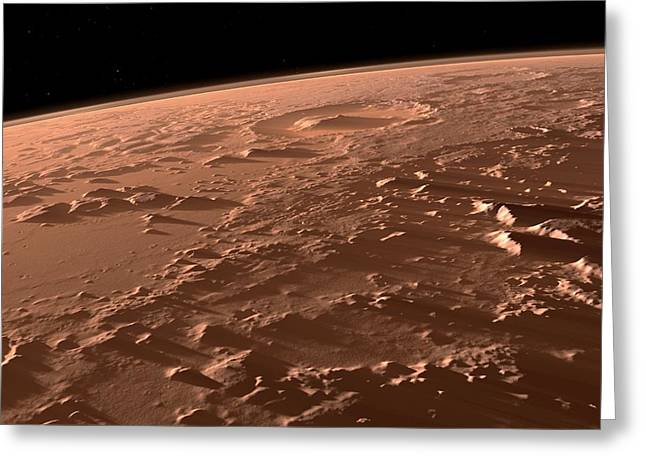 21st Greeting Cards - Gale Crater, Mars Greeting Card by Science Photo Library