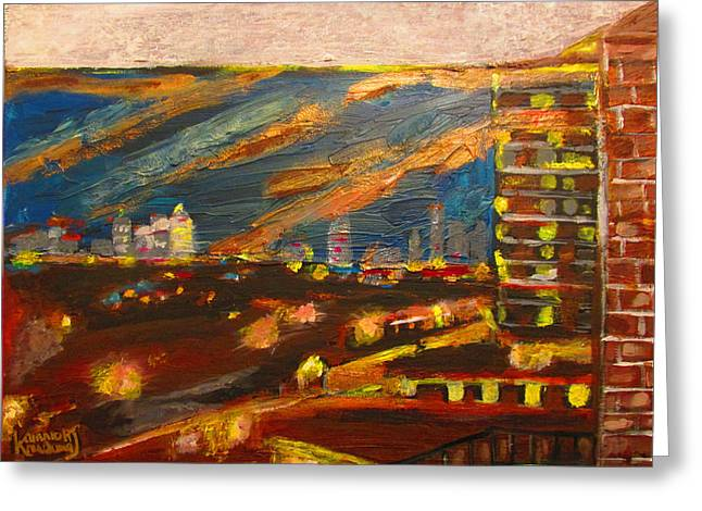 Stormy Weather Mixed Media Greeting Cards - Gale Force Night - Plaistow London Greeting Card by Mudiama Kammoh