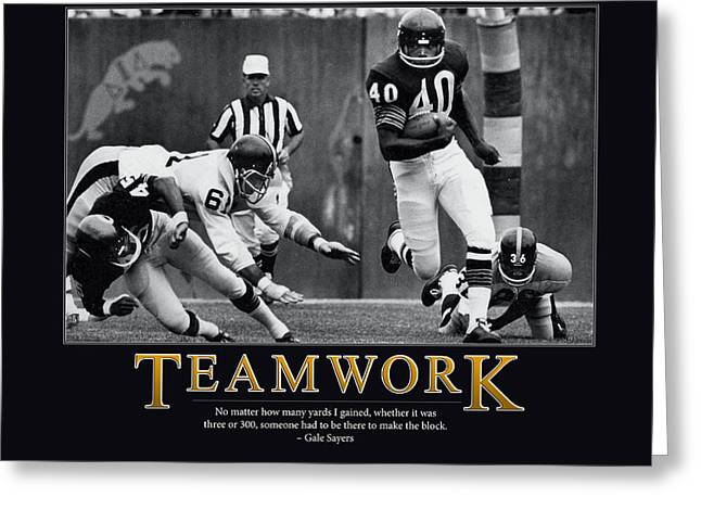 Running Back Greeting Cards - Gale Sayers Teamwork Greeting Card by Retro Images Archive