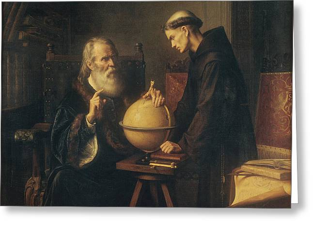 Padua Greeting Cards - Galileo Demonstrating the New Astronomical Theories at the University of Padua Greeting Card by Felix Parra