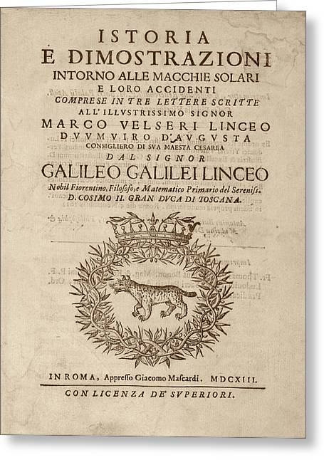 Galileo On Sunspots Greeting Card by Library Of Congress