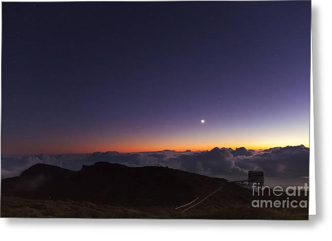 Tng Greeting Cards - Galileo Telescope And Crescent Moon Greeting Card by Babak Tafreshi