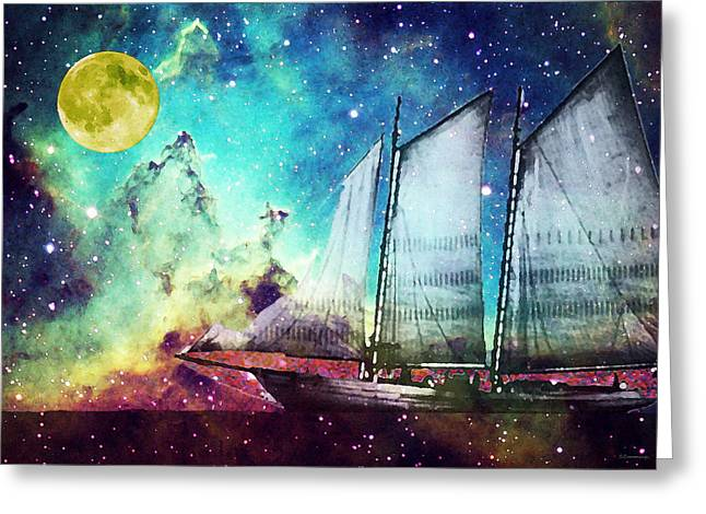 Nighttime Greeting Cards - Galileos Dream - Schooner Art By Sharon Cummings Greeting Card by Sharon Cummings