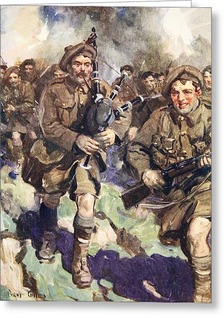 Bravery Drawings Greeting Cards - Gallant Piper Leading The Charge Greeting Card by Cyrus Cuneo