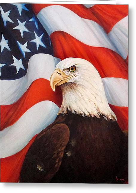 4th July Paintings Greeting Cards - Gallantly Streaming-2 Greeting Card by ArtLoft - Southern California