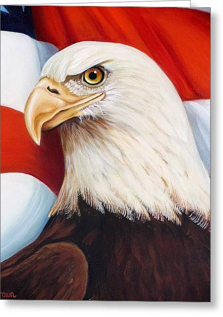 4th July Paintings Greeting Cards - Gallantly Streaming-4 Greeting Card by Jean R Brown - J Brown