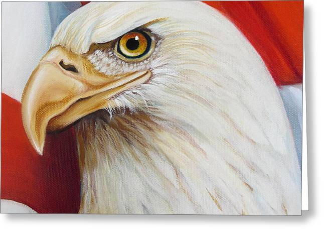 4th July Paintings Greeting Cards - Gallantly Streaming-5 Greeting Card by Jean R Brown - J Brown