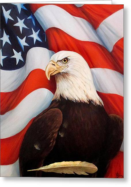 4th July Mixed Media Greeting Cards - Gallantly Streaming Greeting Card by Jean R Brown - J Brown