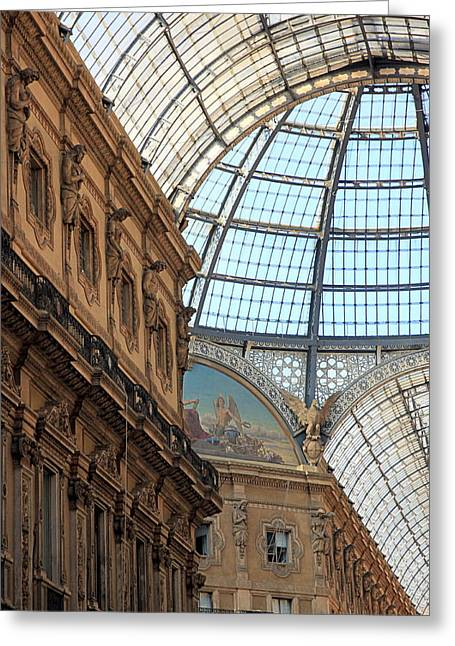 Glass Wall Greeting Cards - Galleria Vittorio Emanuele Greeting Card by Valentino Visentini
