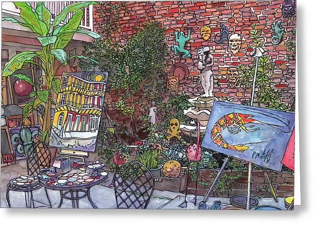 French Door Greeting Cards - Gallery Courtyard 442 Greeting Card by John Boles