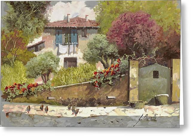 galline Greeting Card by Guido Borelli