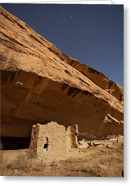 Mancave Photos Greeting Cards - Gallo Cliff Dwelling Under the Bright Moon Greeting Card by Melany Sarafis
