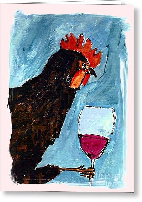 Vino Rosso Greeting Cards - Gallo con Vino Greeting Card by Pj T