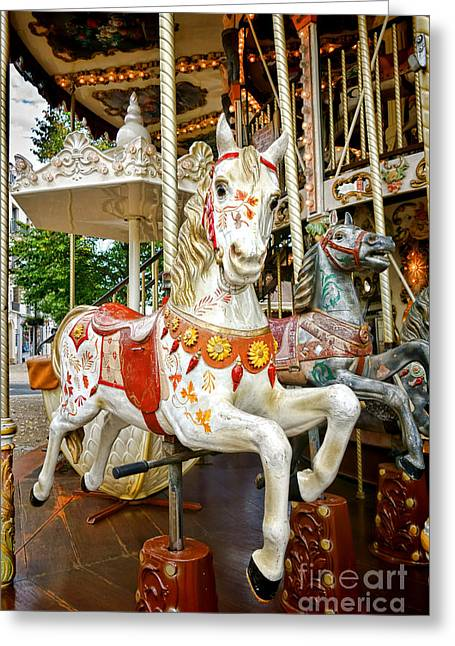 Amusements Greeting Cards - Galloper Greeting Card by Olivier Le Queinec