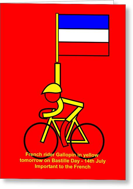 14th July Greeting Cards - Gallopin in yellow tomorrow on Bastille Day Greeting Card by Asbjorn Lonvig